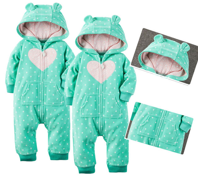 2718f272e96 Baby Spring Fall Winter Newborn Infant Baby Boys Girls Bear Winter Warm  Fleece Hooded Rompers Playsuit Crawling Clothes 3M~2Y