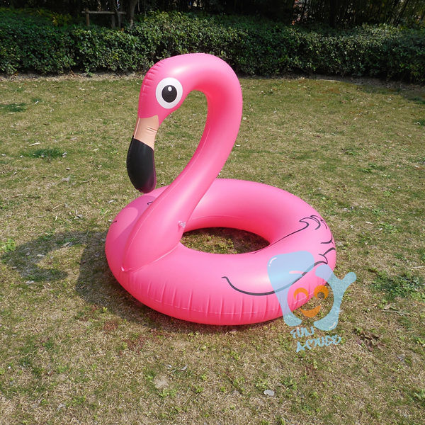 Dia 120cm Inflatable Pink Flamingo Swimming Ring Inflatable Pool Float Air Mattress Pool Inflatable Toys Water Fun Raft