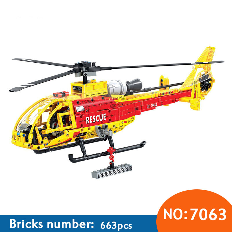 7063 Technic Helicopter building blocks DIY Educational Bricks toys for children Boy Game Kids toys Christmas gifts ...
