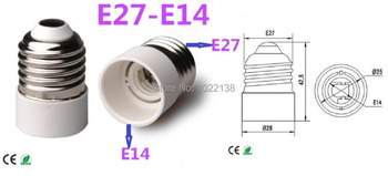 100pcs/lot E27 to E14 LED socket adapter pendant chandelier lamp base bulb Base lamp holder converter LED Light Free Shipping