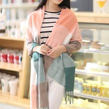 2019 Autumn Winter Female Wool Scarf Women Cashmere Scarves Wide Lattices Long Shawl Wrap Blanket Warm Tippet wholesale(China)