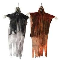 2 шт. 31 дюйм 80 см высокий Хэллоуин висящий Скелет жнец для украшения Хэллоуина