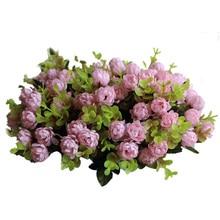 1 ramo/15 cabezas Vintage boda Mini Flor de seda Artificial ramo de flores para decorar el hogar Flor de Scrapbooking barata