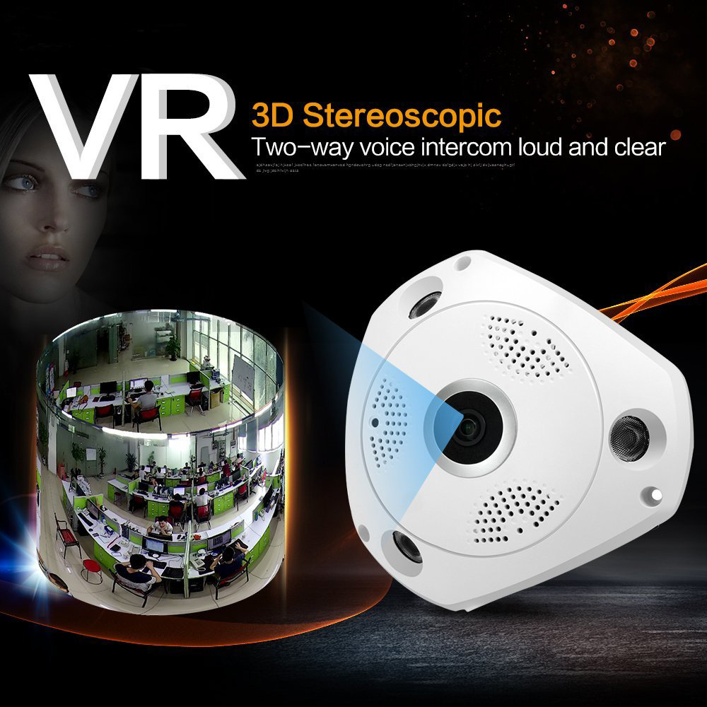Панорама 360 градусов панорамный ONVIF Wi-Fi IP Камера с imx322 1.3mp рыбий глаз Беспроводной 802.11b/G/N внутренняя инфракрасный Бесплатная доставка