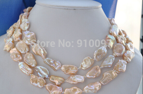 "LHX5568>>>lustre 50"" 20mm pink BAROQUE KESHI REBORN PEARL NECKLACE"