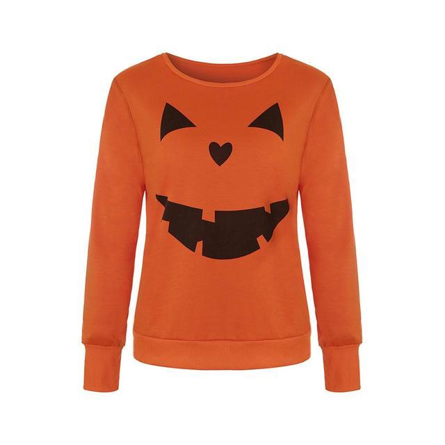 2fe39063 Women Tshirt 2018 For Halloween Pumpkin Print Sexy Orange Black O Neck Long  Sleeve Shirt Tops Feminina Camiseta Dropshipping