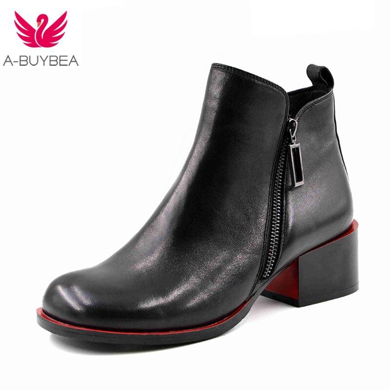 2018 Neue Frauen Schuhe Frauen High Heels Stiefeletten Aus Echtem Leder Schuhe Warm Kurze Plüsch Innen Herbst Mode Schwarz Stiefel Feine Verarbeitung