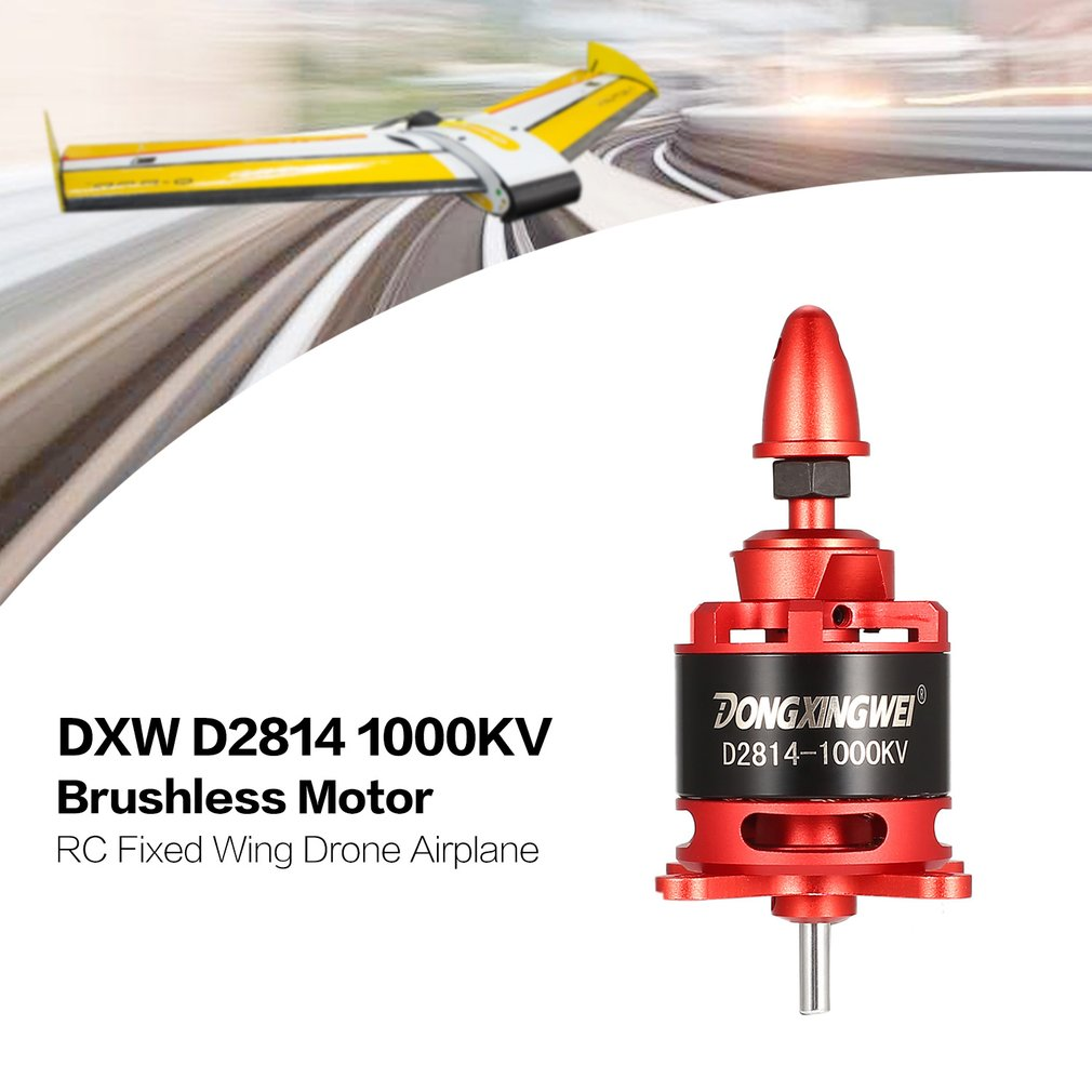 DXW D2814 2814 <font><b>1000KV</b></font> 3-4S 6mm Outrunner <font><b>Brushless</b></font> <font><b>Motor</b></font> for RC FPV Fixed Wing Drone Airplane Aircraft 12x6 Propeller image