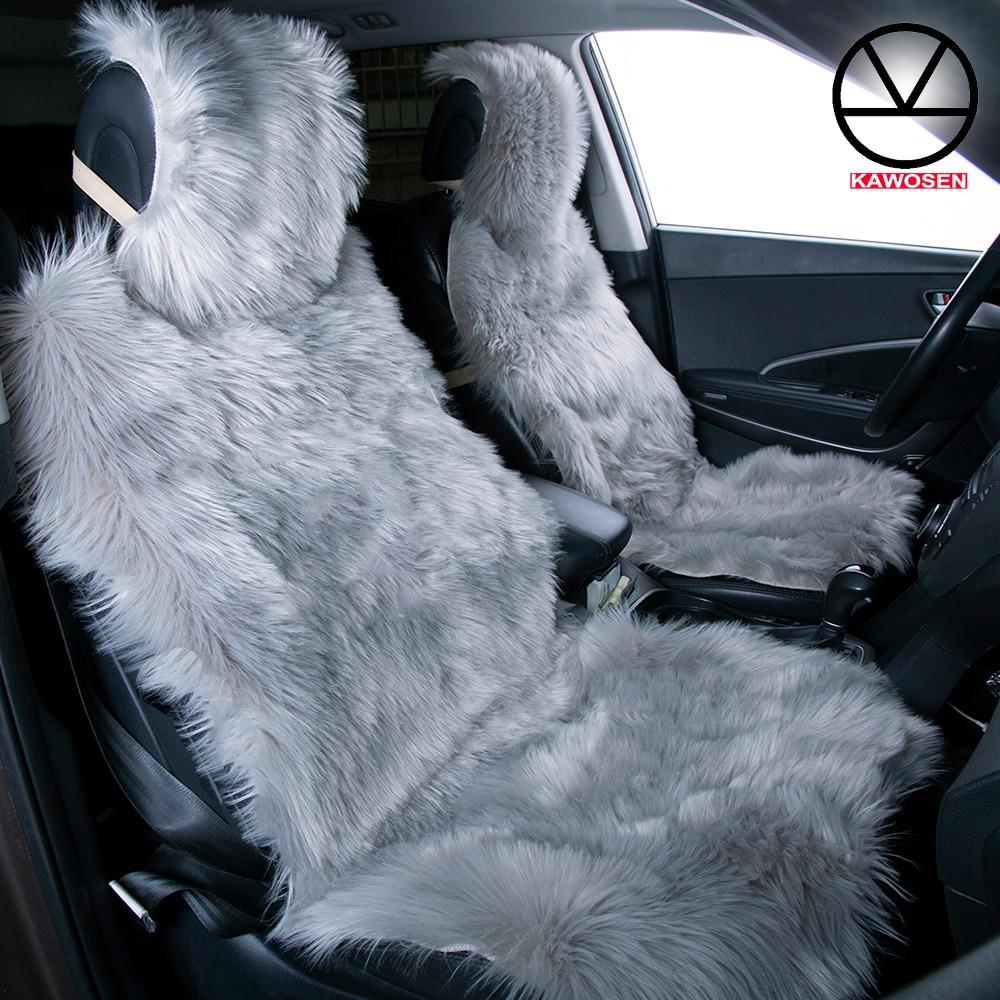 KAWOSEN 2 pcs set Long Faux Fur Seat Cover Universal Artificial Plush Car Seat Covers 9