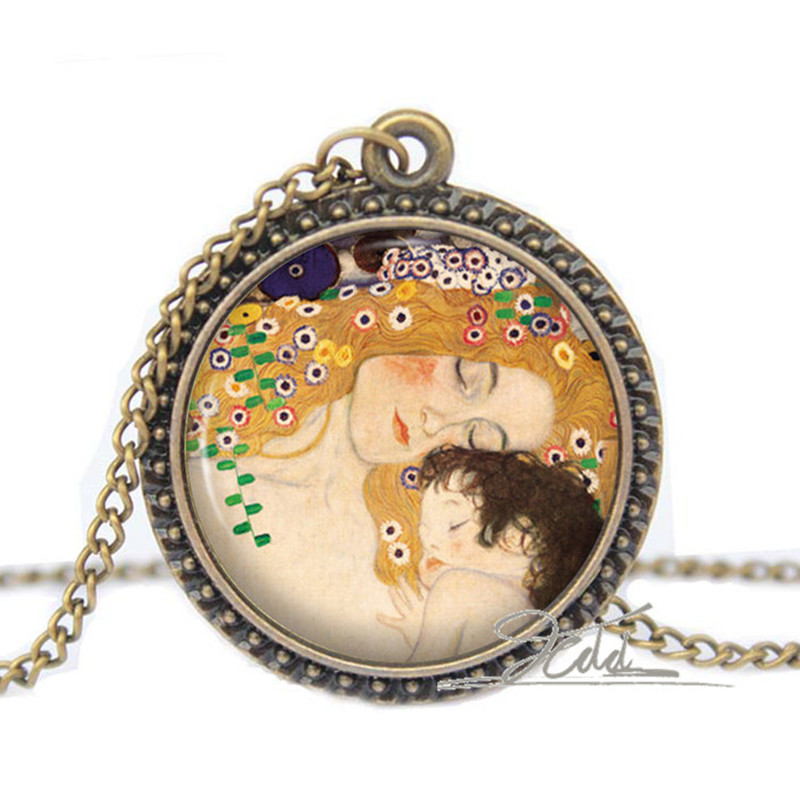 Mother and Child Art Necklace - Gustav Klimt Maternity Baby Jewelry Gift for Her Photo Glass Dome Cabochon Necklace Pendant