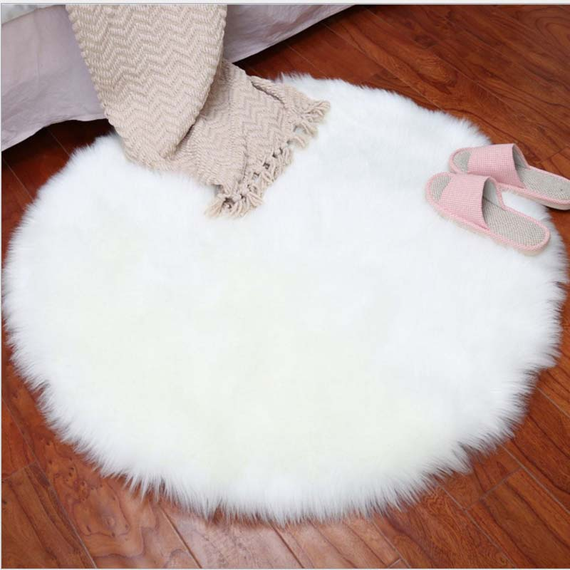 Round Soft Faux Sheepskin Fur Area Rugs for Bedroom Living Room Floor Shaggy Silky Plush Carpet White Faux Fur Rug Bedside Rugs(China)
