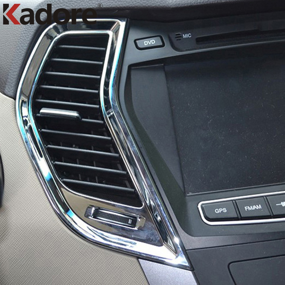 For Hyundai Santa Fe 2013 2014 2015 ABS Chromium Car Styling Air AC Vent Trim Inside Door Handle Cover Trims Auto Parts 8pcs/set цена