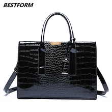 BESTFORM Luxury Women Handbag Large Capacity Ladies Bag Crossbody Alligator Fashion Female Shoulder Leather Handbags Tote