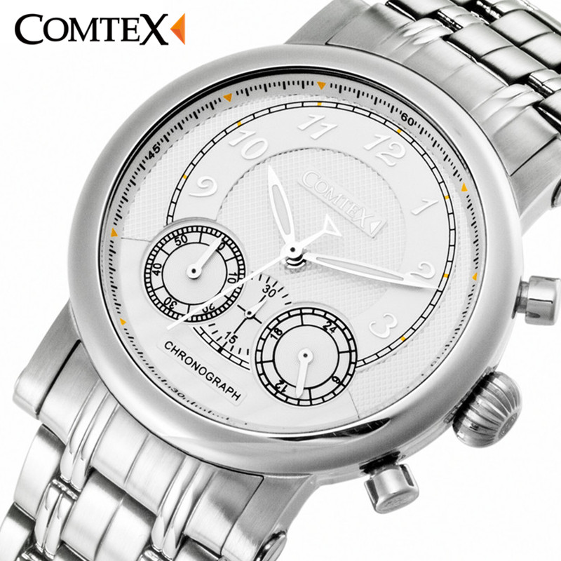 neos brand genuine watch men s stainless steel straps simple business fashion waterproof quartz fashion men s watch COMTEX Men Watch Luxury Fashion Brand business Large dial Stainless Steel Watchband Quartz Movement Waterproof Wristwatch