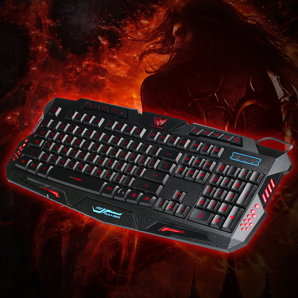 Image 2 - A877 Russian English Gaming Keyboard Wired USB Backlight LED Professiona Game Glowing Keyboard For Computer Mac Dota 2 LOL CS-in Keyboards from Computer & Office