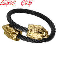 BLEUM CADE 316L Stainless Steel Mens Punk Animal Eagle Heads Wire Cable Open Cuff Bangle Eagle