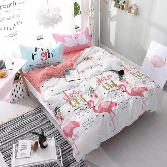Attractive Flamingo Bird Bedding Set Queen Size Cotton Flat Sheets Duvet Cover  Pillowcase Bed Linen Bed Set