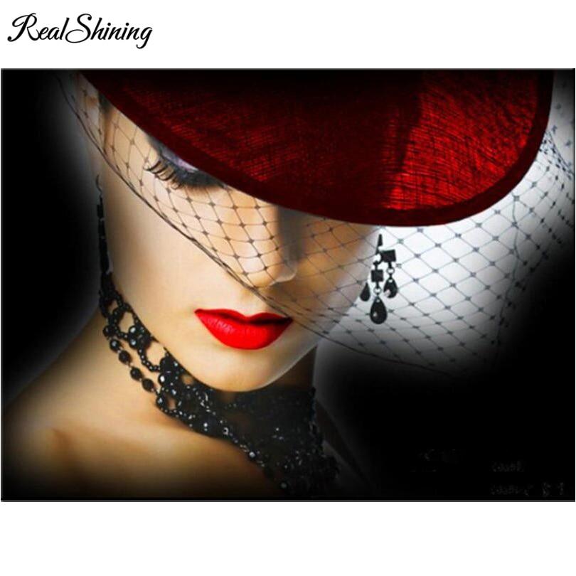 REALSHINING bead embroidery diamond Mask Beauty diamond painting full square mosaic picture of rhinestones cross stitch FS1196