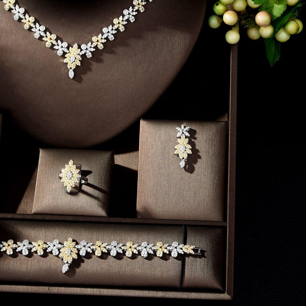 HIBRIDE jasny AAA Cubic cyrkon zostawić zestawy biżuterii akcesoria oświadczenie naszyjnik 4 sztuk zestaw dla kobiet Wedding Party biżuteria N 235 w Zestawy biżuterii od Biżuteria i akcesoria na  Grupa 3