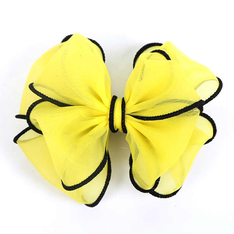 1Pcs New Chiffon Handmade Big Bows Solid Hair Clips For Girls Hand Sewn Flower Headwear Hair Accessories 5 inches Handicrafts metting joura vintage bohemian ethnic tribal flower print stone handmade elastic headband hair band design hair accessories