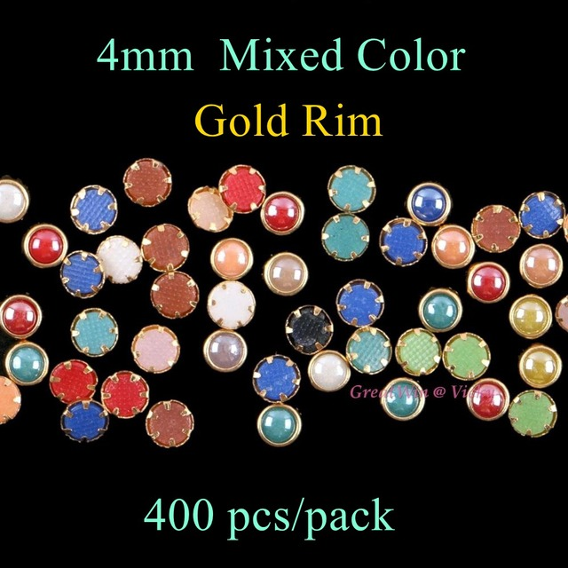 4mm 400pcs pack Mixed Color Ceramic Hotfix Rhinestones Round Metallic Gold  Rim DIY Hot Fix 236adba527d9