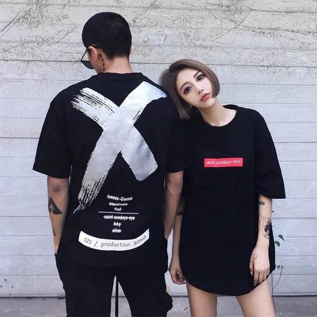 19hot sale Fashion Hip Hop Harajuku High Street T- Shirts Men Women summer Gold silver X pattern printing Short sleeve T-Shirts