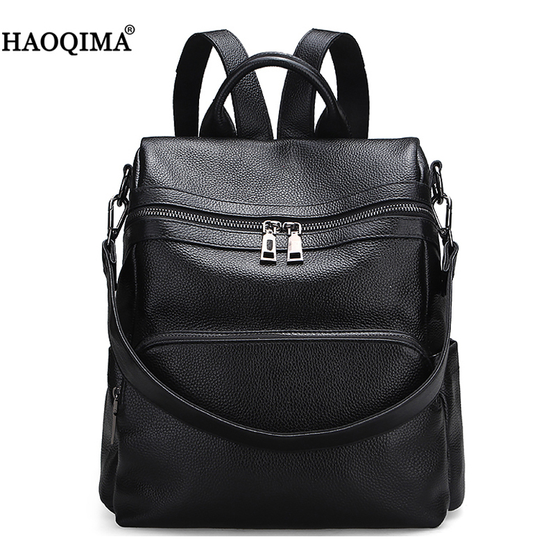 HAOQIMA Genuine Leather First Layer Cow Skin Real Cowhide Women Girl Fashion Backpack Schoolbag School Bags Ladies Female zency fashion leather backpack real natural genuine leather women backpacks ladies girl school bag top layer cowhide mochila