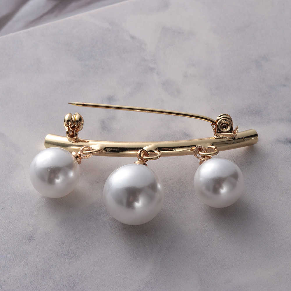 Feminino charme três pérola blusa camisa colar pino vara cachecol pinos de segurança broches camisola jóias moda roupas decorações broche