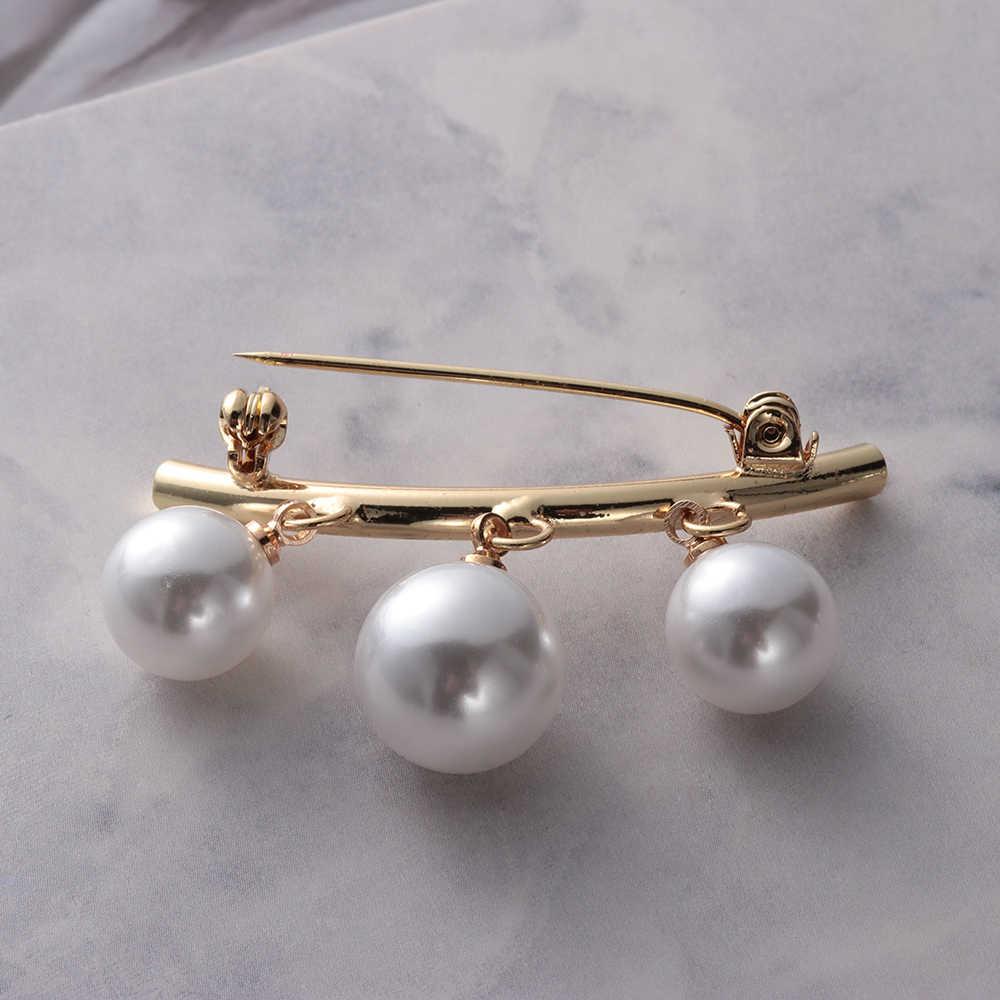 Pin Bros Sweater Perhiasan Fashion Wanita Pesona Tiga Pearl Blus Kemeja Kerah Stick Pin Syal Pakaian Dekorasi Baru