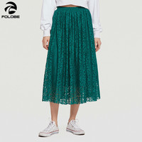 Women Vintage Lace Long Skirt Spring Summer Faldas Mujer Moda 2019 Skirts Womens Maxi Skirts Blue Black Red Green