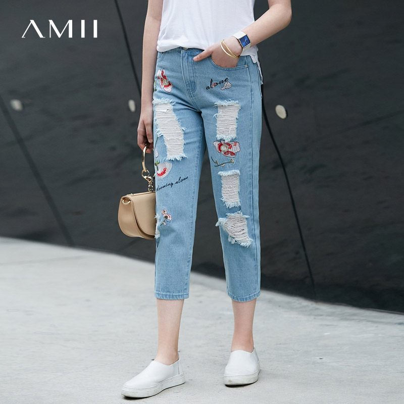 Amii Women Minimalist Denim Jeans 2018 Blue Bleach Wash Distressed Floral Embroidery Female Pants