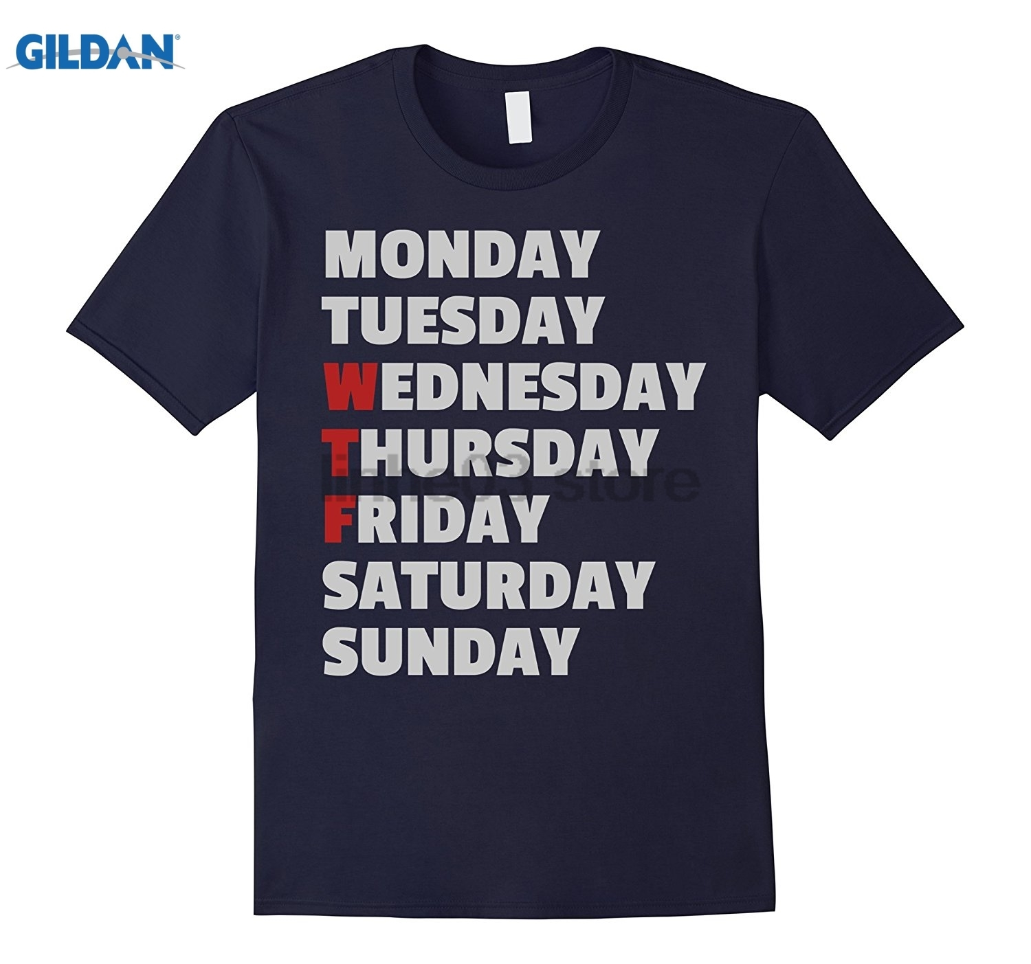 GILDAN MTWTFSS - Funny WTF Days of the Week T-Shirt - Grey and Red Mothers Day Ms. T-shirt glasses Womens T-shirt