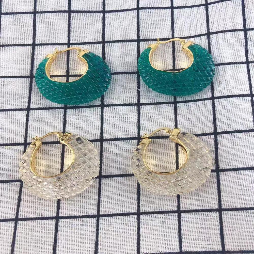 Fashion fish scales bird nest resin acrylic  hoop earrings for women green 2019 Luxury brand jewelry