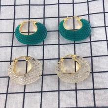 Fashion fish scales bird nest resin acrylic  hoop earrings for women green 2019 Luxury brand jewelry