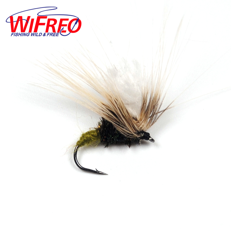 [6 PCS] #12 Grey Emerger Dry Fly Caddis Trout Fishing Flies fly e135 grey tv