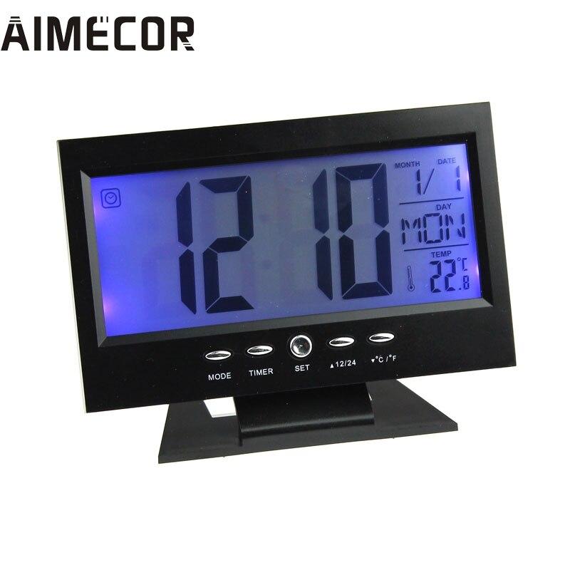 My House LED Digital Creative Alarm Clock Light Control Backlight Time+Calendar 2017 New Hot Sell 17Mar9