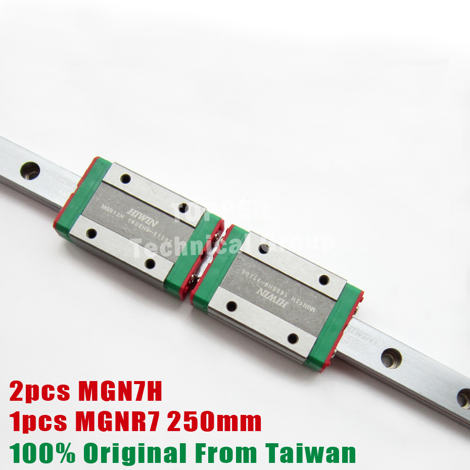HIWIN MGN7H mini slider MGN with rail 250mm MGNR7 block for 3d printer High efficiency CNC
