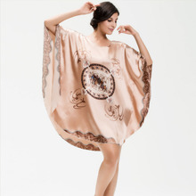 Women Sexy Sleepshirt Satin Charming Bath Robe Sleepwear Satin Robes Silk Wedding Robes(China)