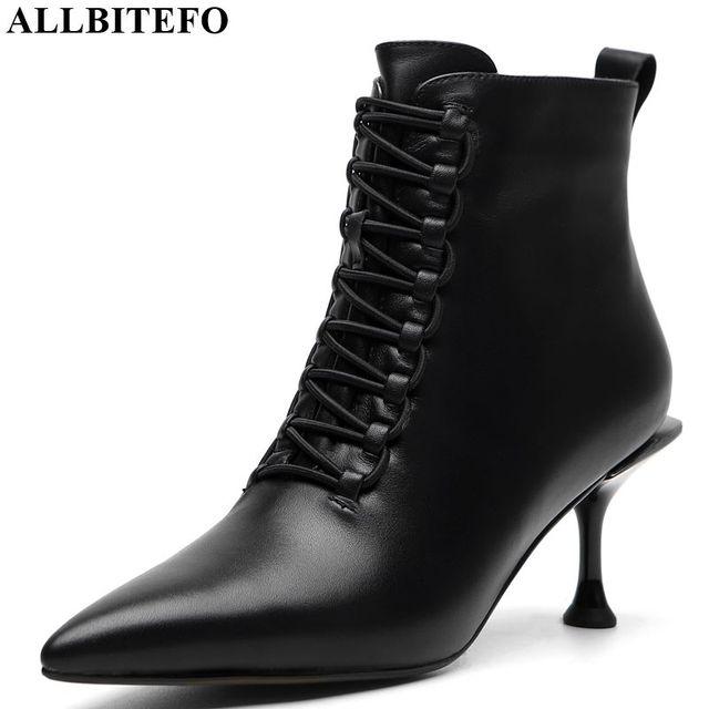 ALLBITEFO/женские ботинки из натуральной кожи; сезон осень-зима; bota de neve; корейский стиль; Модные ботильоны для девочек; высокое качество