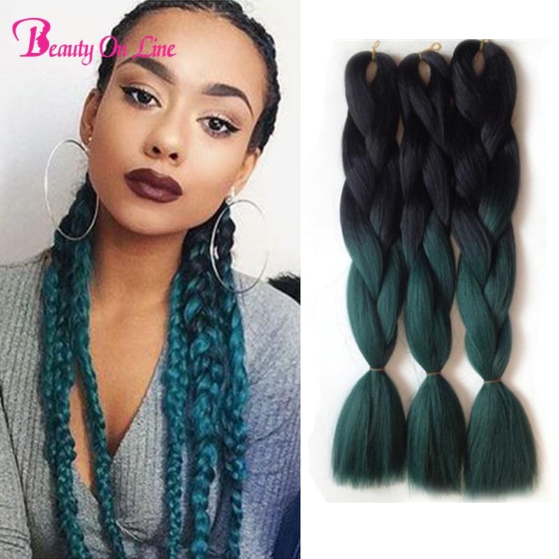 22\u0026quot;Two Tone Kanekalon Dark Synthetic Green Braiding Hair