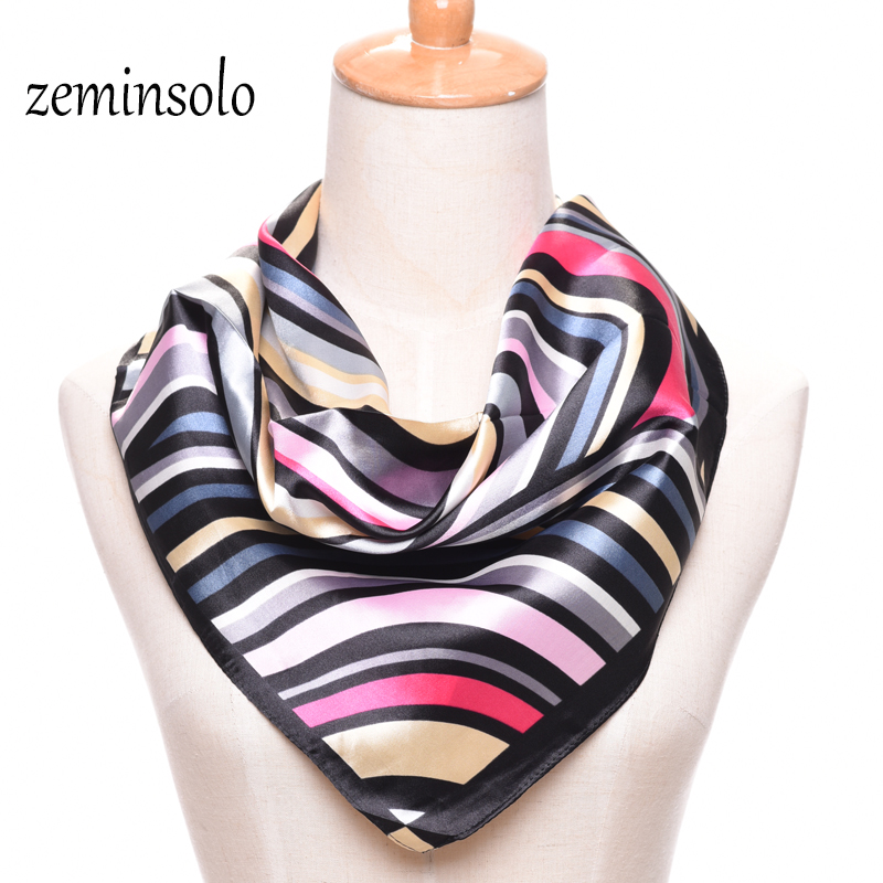 New 60*60cm Fashion Scarf For Women Wrap Plaid Square Imitated Slik Scarf Shawl Chiffon Women Scarves Hijab High Quality Wraps