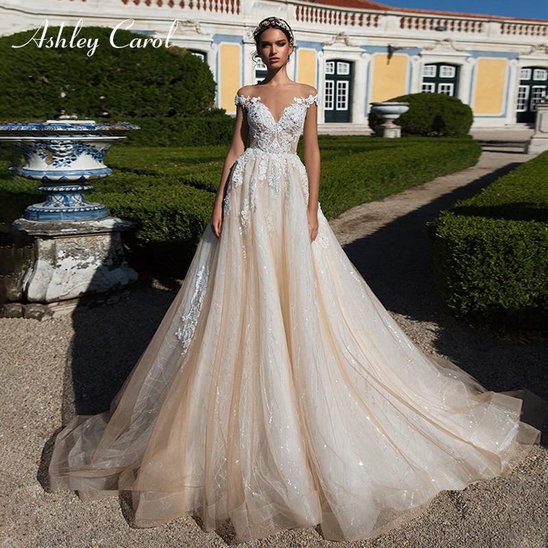 Ashley Carol Sexy V-neck Cap Sleeve Lace Tulle Wedding Dresses 2019 Luxury Bride Dresses Princess Palace Dream Wedding Gowns