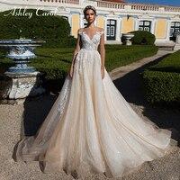 Ashley Carol Sexy V neck Cap Sleeve Lace Tulle Wedding Dresses 2019 Luxury Bride Dresses Princess Palace Dream Wedding Gowns