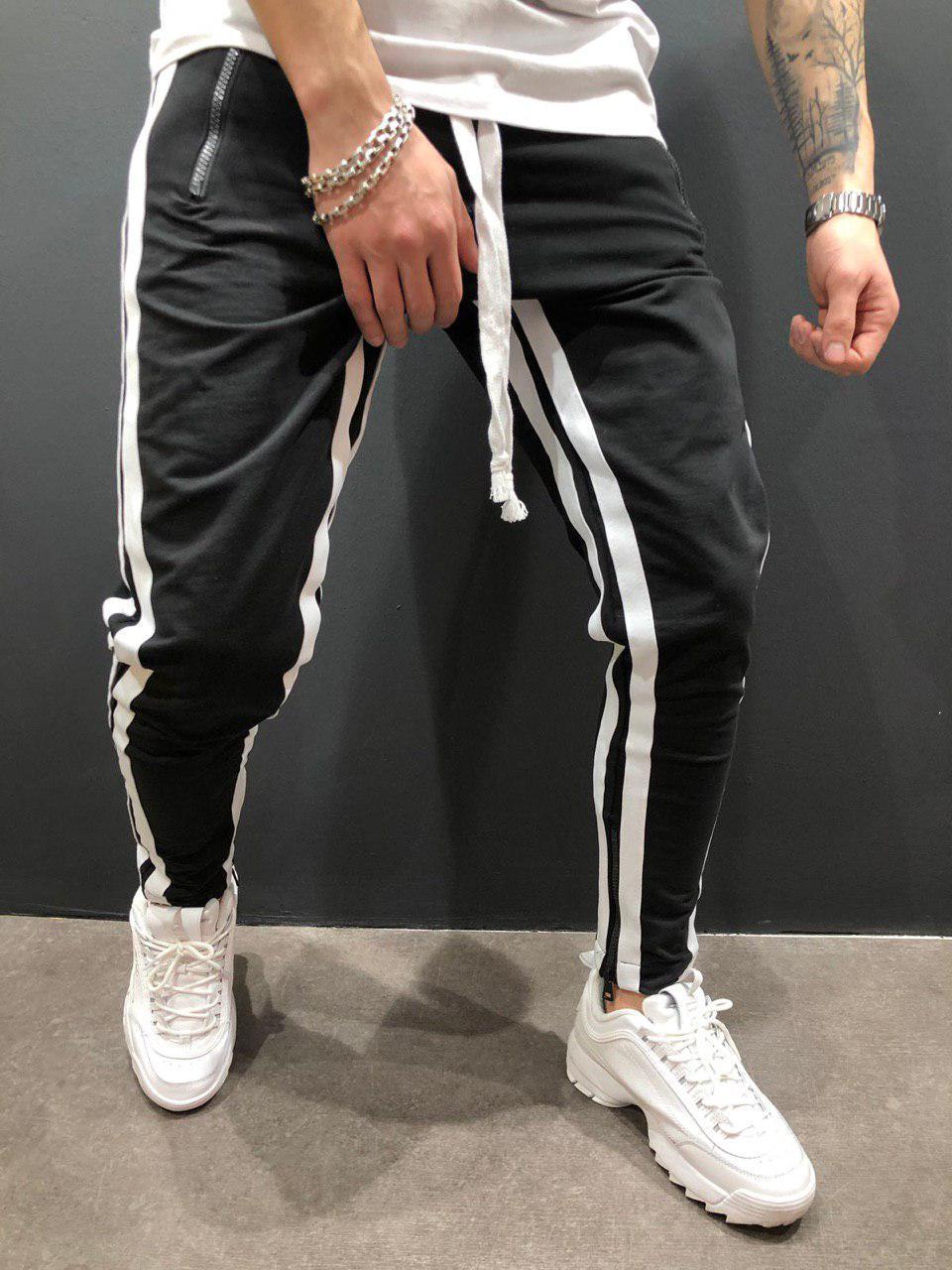 Мужские брюки для отдыха, бодибилдинга, с разрезом, на молнии, для ног, для движения, брюки для бега, спортивные штаны - Цвет: Black and white