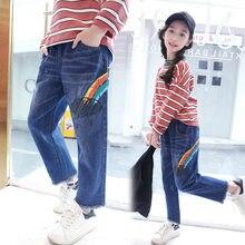 8ea7ba148bb45 Радужные джинсы для девочек 3 4 5 6 7 8 От 9 до 13 лет 2018 Осень Новый  Модный Принт Свободные джинсовое, в Корейском стиле штан.
