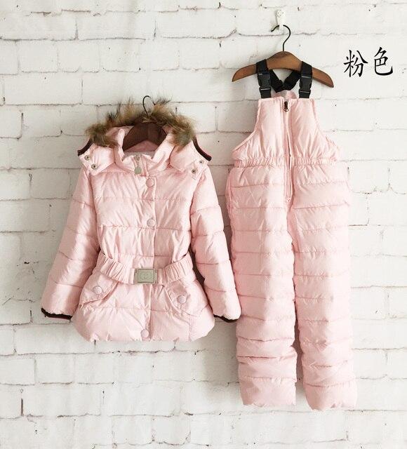 Дети зимняя одежда комплект дети лыжный костюм ветрозащитный пуховик твердые теплые шубы куртки + биб брюки 4 цветов 2 шт./компл.