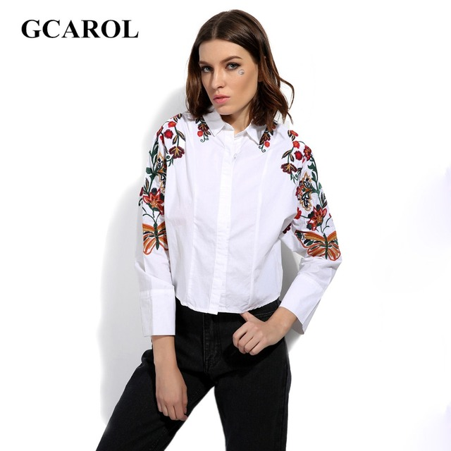 Gcarol 2017 mulheres novo bordado floral blusa oversize batwing manga camisa retro do vintage casual cropped tops para 4 temporada