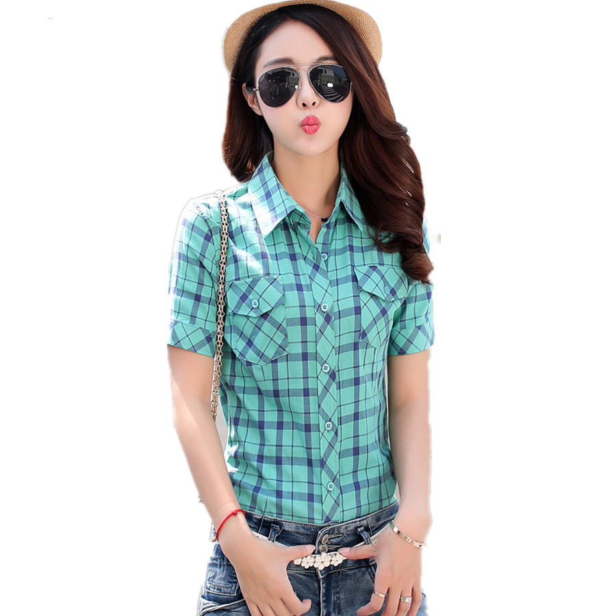 Summer Women slim shirts Fashion short sleeve Plaid Blouses cotton ...