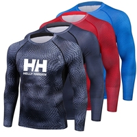 Helly Hansen T shirt Compression Shirt Tee Shirt Homme Long sleeve T shirt Men Print Tshirt Fitness Men's Compression Shirt