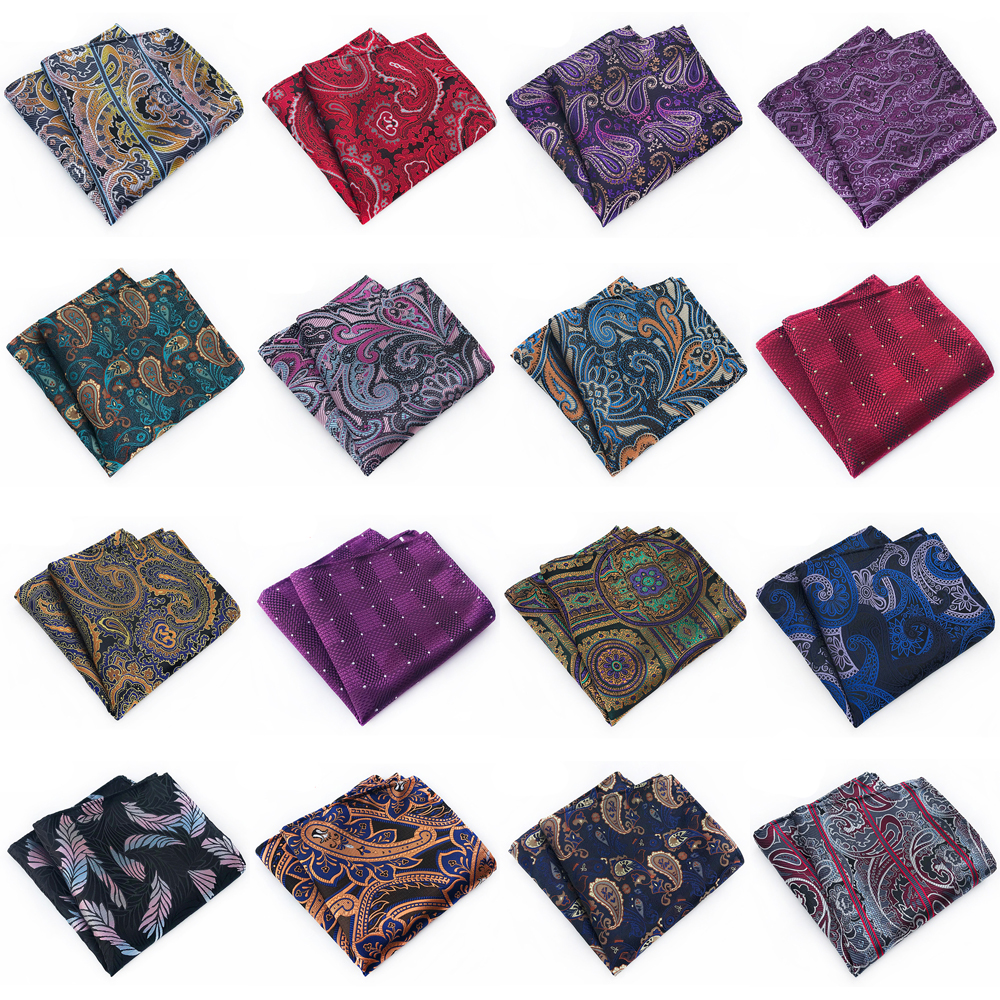 Men Classic Paisley Floral Handkerchief Hanky High Grade Gentlemen Pocket Square HZTIE0322
